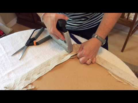 recovering chair cushions how to staple corners youtube