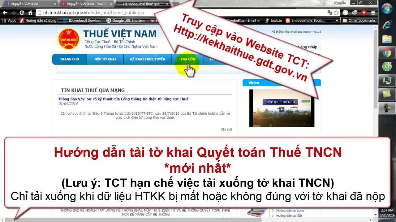 Hướng Dẫn Tải Tờ Khai Quyết Toán Thuế TNCN (Mới nhất)