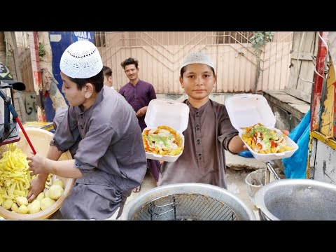 12 Years Old Kid Selling FRENCH FRIES | Hardworking Afghani Kid | Famous French Fries at Street Food