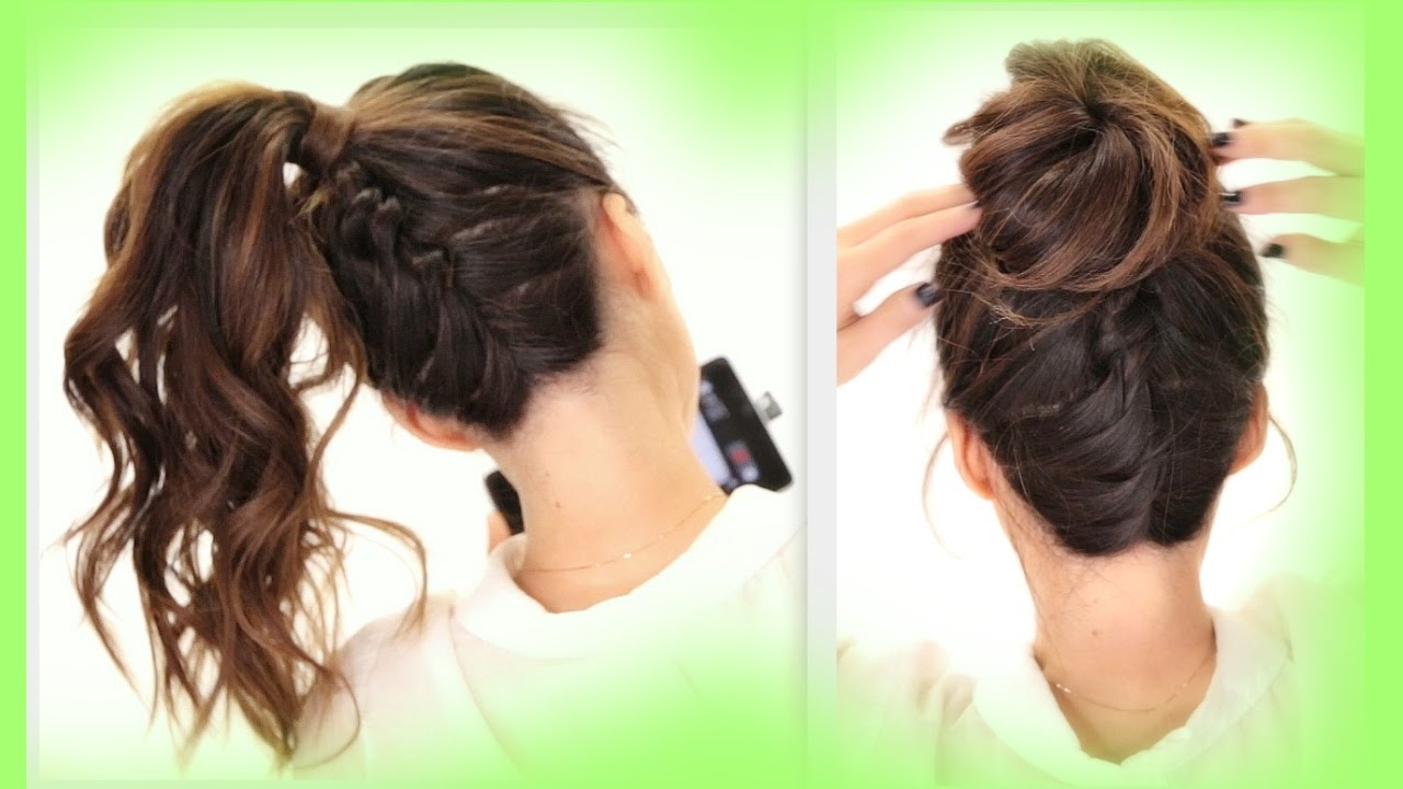★2 cute braids back-to-school hairstyles | braided messy bun hairstyle