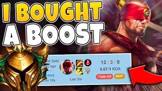 I BOUGHT A BOOST AND PRETENDED TO BE A GOLD LEE SIN MAIN (PRICELESS) - League of Legends