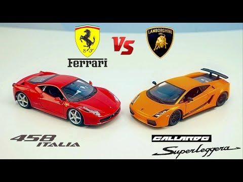 МАШИНКИ ДЛЯ ДЕТЕЙ: Ferrari 458 Italia vs Lamborghini Gallardo SuperLeggera. Cars for kids