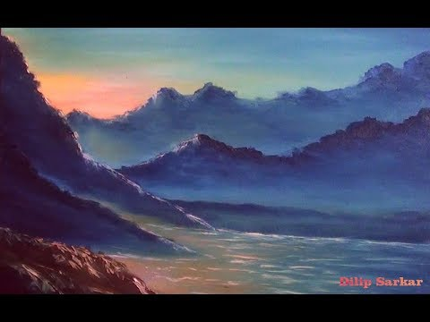 how to draw free oil painting tutorials  | Sunset end of the day at Mountains | Paint with Dilip Art