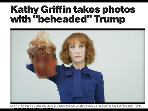 "Kathy Griffin takes photos with ""beheaded"" Trump"