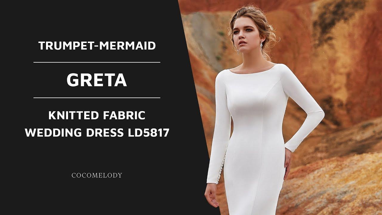 6cbb68669 Dress GRETA | Trumpet-Mermaid Court Train Knitted Fabric Wedding Dress  LD5817 | COCOMELODY