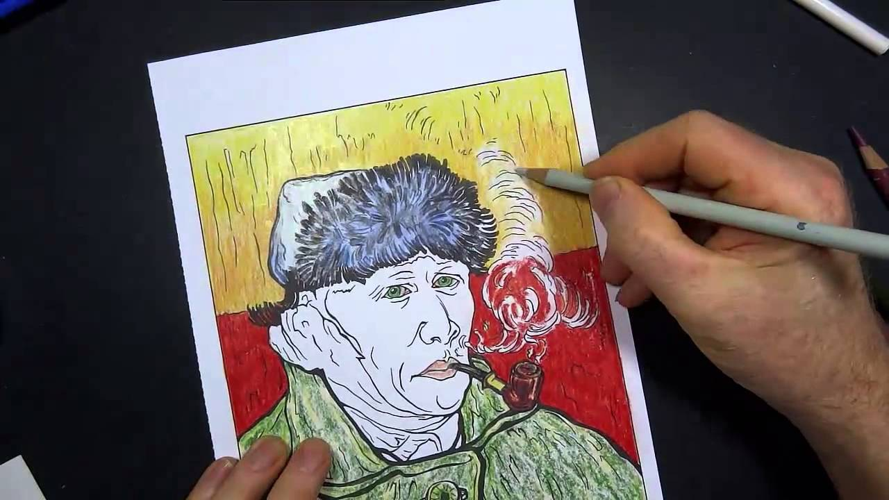 Coloring Book Art : Van Gogh Self Portrait - YouTube