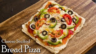 Cheese Stuffed BIG Bread Pizza on Tawa | Bread Pizza Recipe | Tawa Pizza ~ The Terrace Kitchen