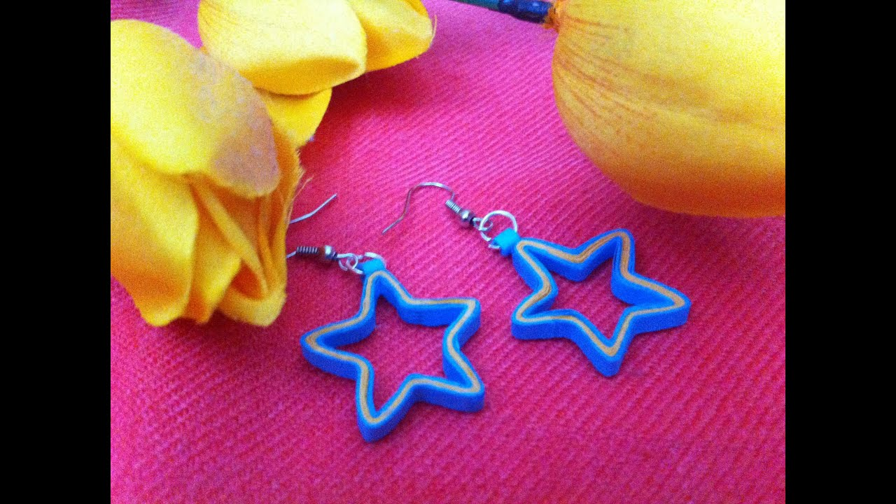 Quilling earrings- star design - YouTube