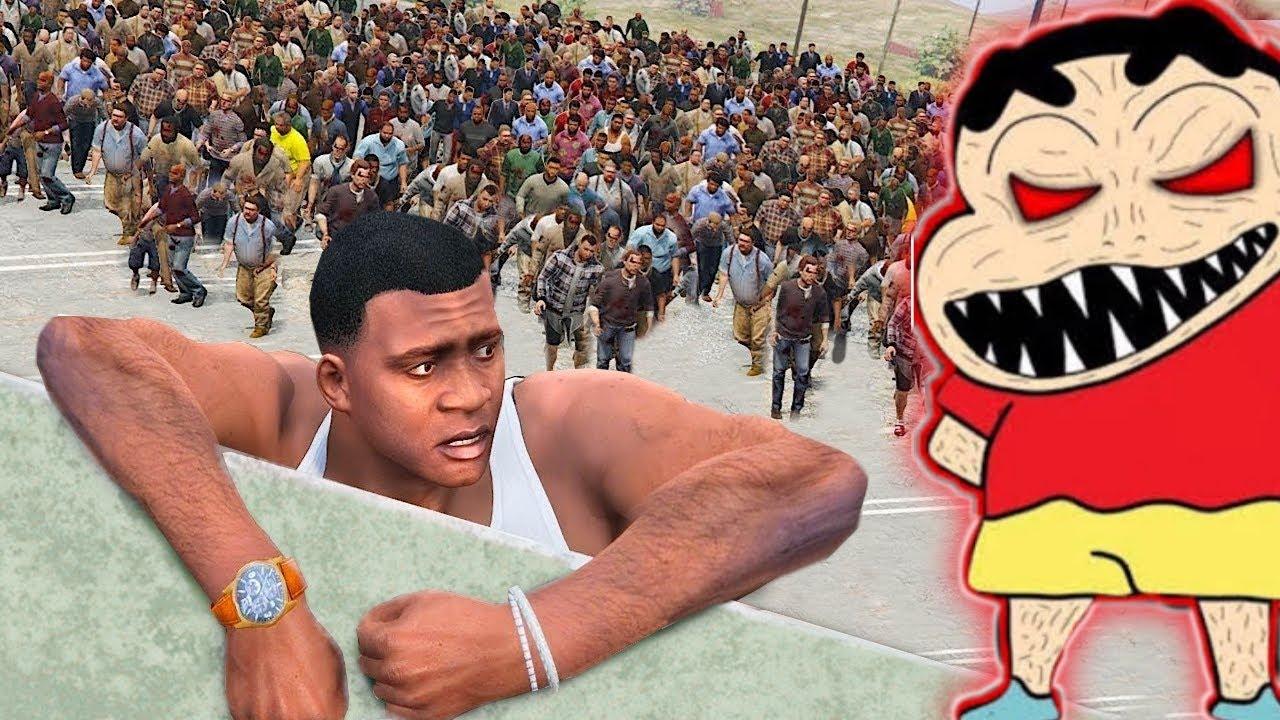 GTA 5 : 1000 SHINCHAN Attacked FRANKLIN In GTA 5 | 1000 SHINCHAN FIGHT with FRANKLIN In GTA 5