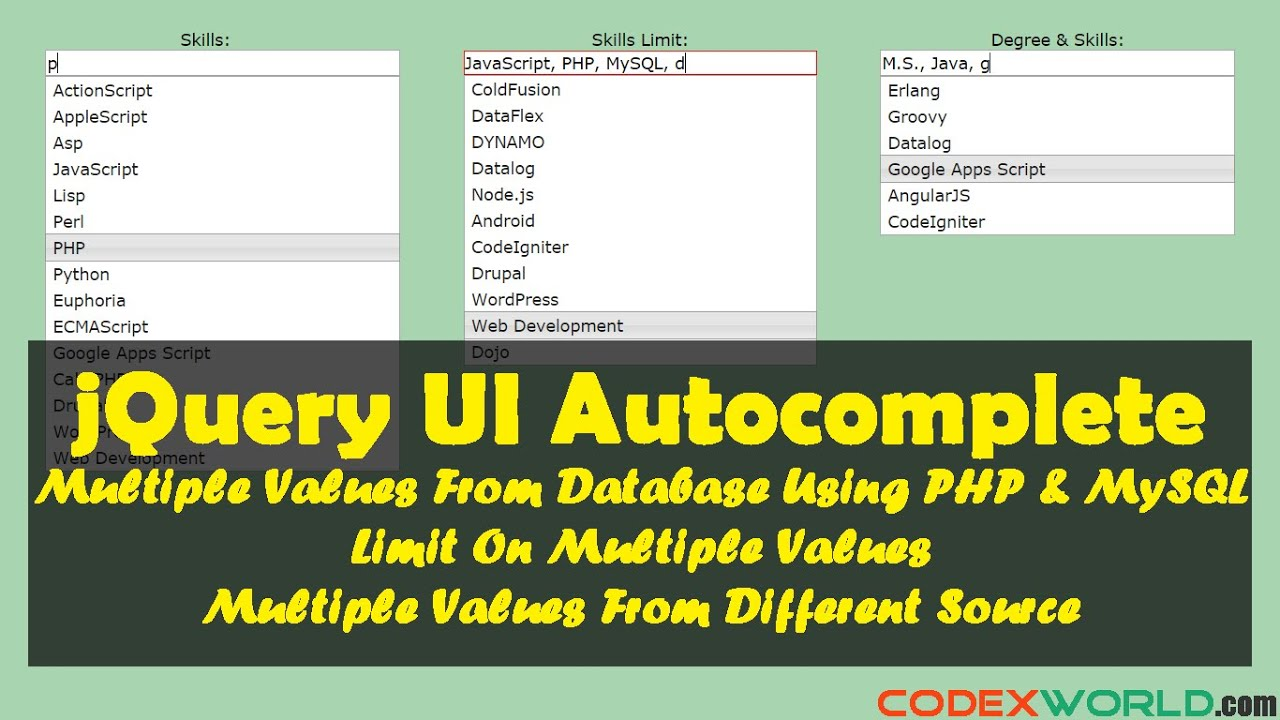 Autocomplete Textbox with Multiple Values using jQuery, PHP and