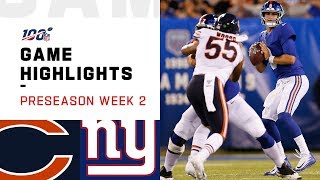 Bears vs. Giants Preseason Week 2 Highlights | NFL 2019