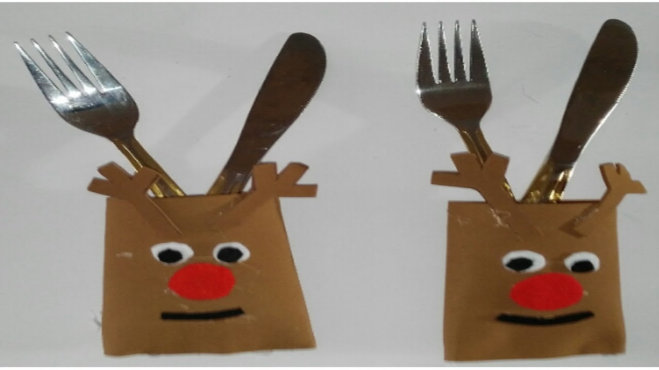 Como hacer porta cubiertos de reno para navidad tutorial - Manualidades para hacer en navidad ...