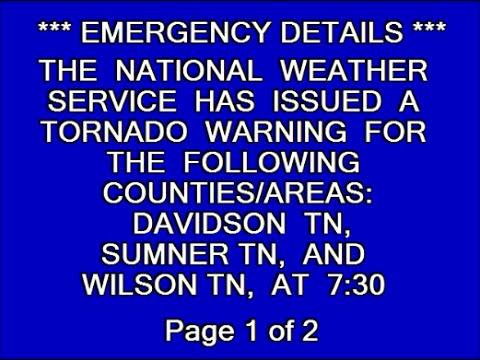 EAS: Tornado Warning for Nashville, TN
