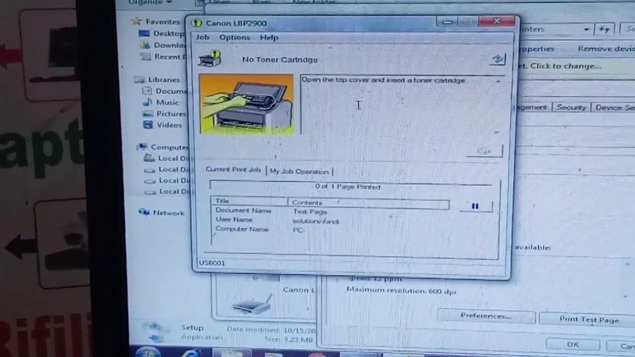 No Toner Cartridge error canon LBP 2900 Printer Solution In Hindi