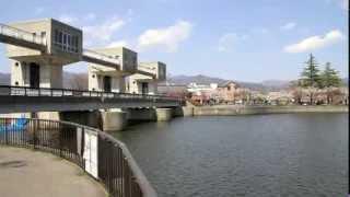 長野県 諏訪湖 釜口水門 (八ヶ岳の展望)