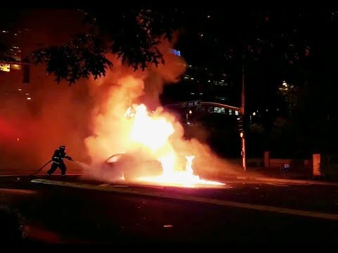 Car Explodes in Bellevue Washington Downtown Seattle Area