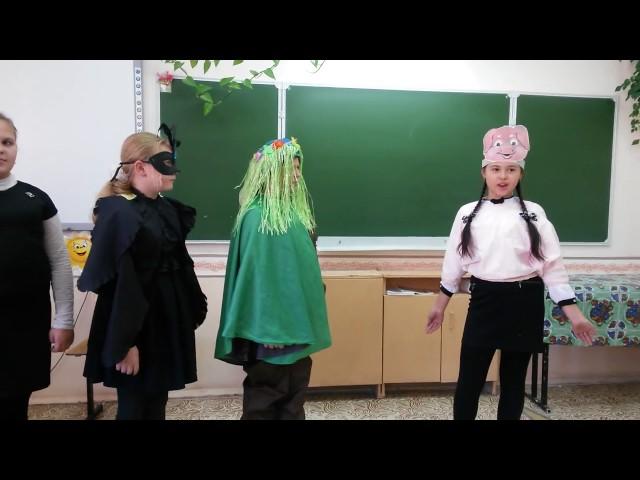 Изображение предпросмотра прочтения – «школьный театральный кружок» читают произведение «Свинья под дубом» И.А.Крылова