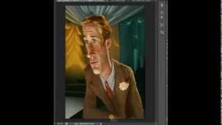 Digital Painting making of Caricature : Ryan Gosling