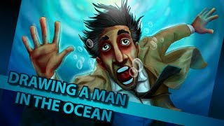 DIGITAL ART | Drawing a man in the ocean with Wacom Intuos Pro in Photoshop [Speed Drawing]