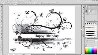 Illustrator Tutorial - Drawing with Brushes - Florals Swirls Blobs Butterfly