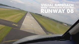 edqg visual approach runway 08 with a cessna citation jet cj4 in giebelstadt