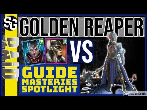 RAID SHADOW LEGENDS | GOLDEN REAPER GUIDE SPOTLIGHT MASTERIES VS APOTHECARY & HIGH KHATUN
