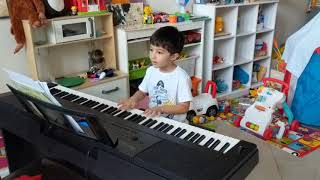 Four year old Ram plays Ode to Joy Beethoven (following Hoffman Academy)