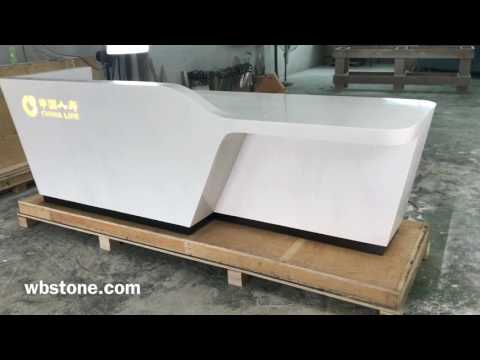 1080p solid surface artificial marble reception desk with led lighting logo