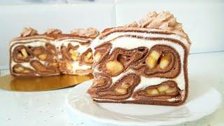 Блинный торт с бананами и Крем Пломбир // Шоколадные блины рецепт