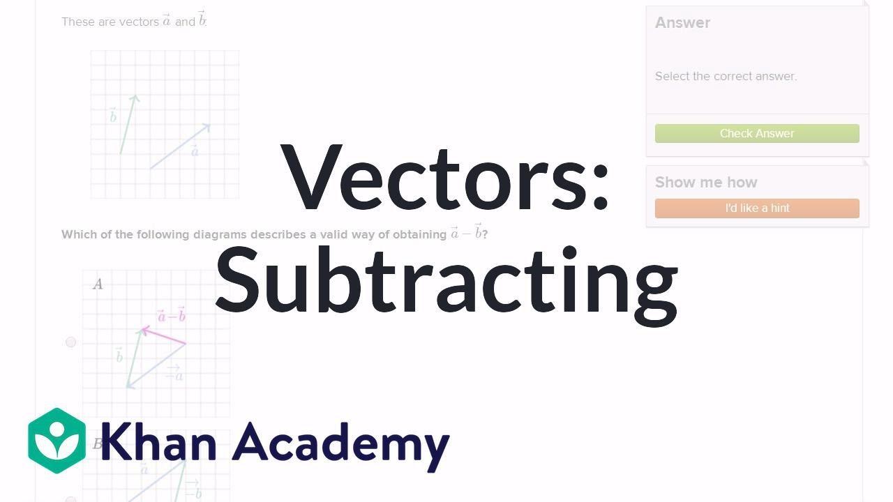 Subtracting vectors exercise example | Vectors | Precalculus | Khan Academy