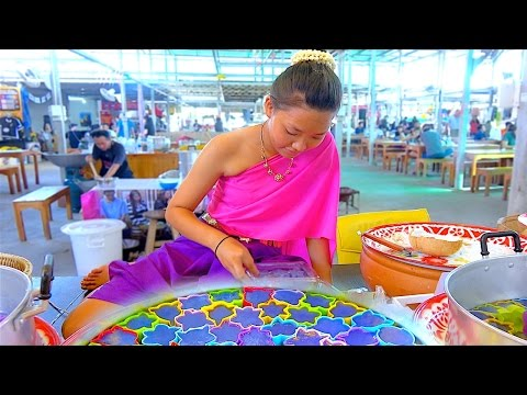 Thumbnail: Sweet Cake with Traditional Dress Girl - Thai Street Food Dessert Kanom Chan
