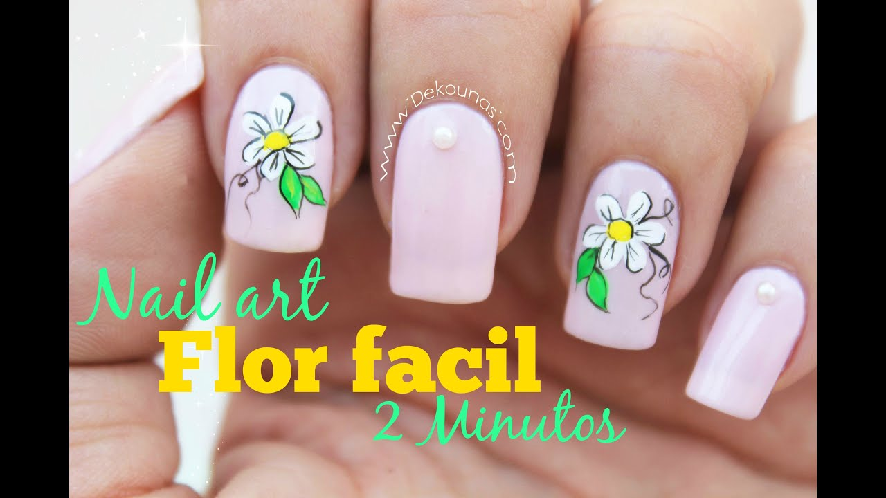 Decoración de uñas flor FACIL - EASY flower nail art - YouTube