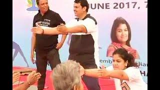 International Yoga Day: Maharashtra CM Devendra Fadnavis performs Yoga in Mumbai