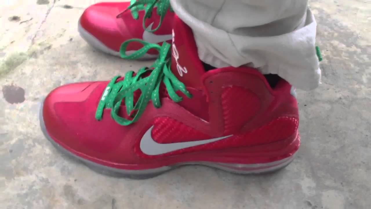 new style 0ad30 095a2 Nike Lebron 9 Christmas on feet