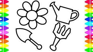 Baby Gardening Set Toys and Flower Children Coloring Book and Drawing for Kids