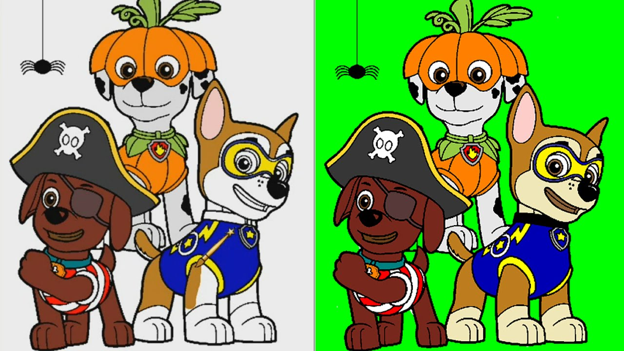 Halloween Paw Patrol Coloring Pages For Kids ▻ Paw Patrol