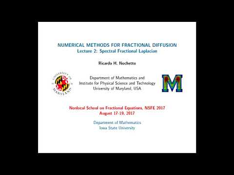 Ricardo Nochetto at NSFE 2017 - Numerical methods for fractional diffusion (2/3)
