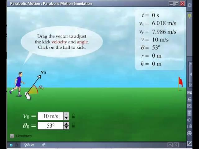 Parabolic Motion Simulation - AmazingEdu Software