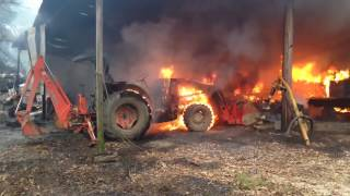 Firefighters and Police Officers Battle a Fire in Springfield Louisiana - Livingston Parish