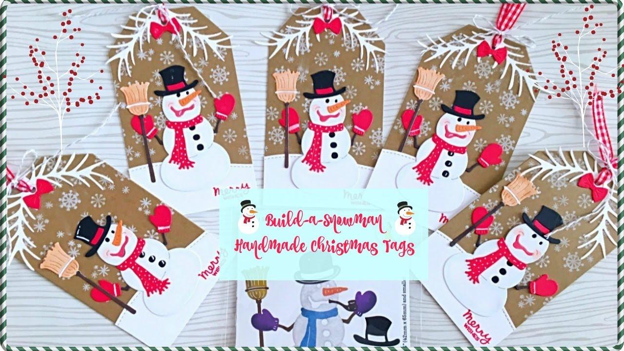 build a snowman handmade christmas tags by maria russell - Christmas Tags Handmade
