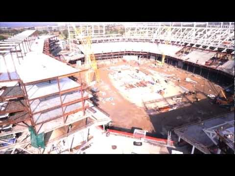 San Francisco 49ers New Stadium Under Construction: Aerial Video