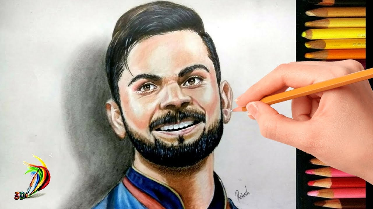 How to draw virat kohli realistic drawing of virat kohli 3d drawing of virat kohli