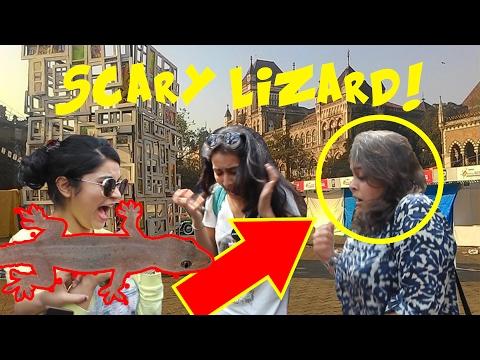 Scaring cute girls with Fake Lizard! | Kala Ghoda 2k17- Virar2Churchgate