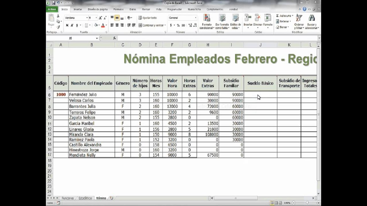 Sueldo basico excel youtube for Nomina en excel xls