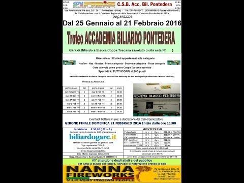 TROFEO ACCADEMIA BILIARDO PONTEDERA domenica 21 Febbraio ore 14 circa