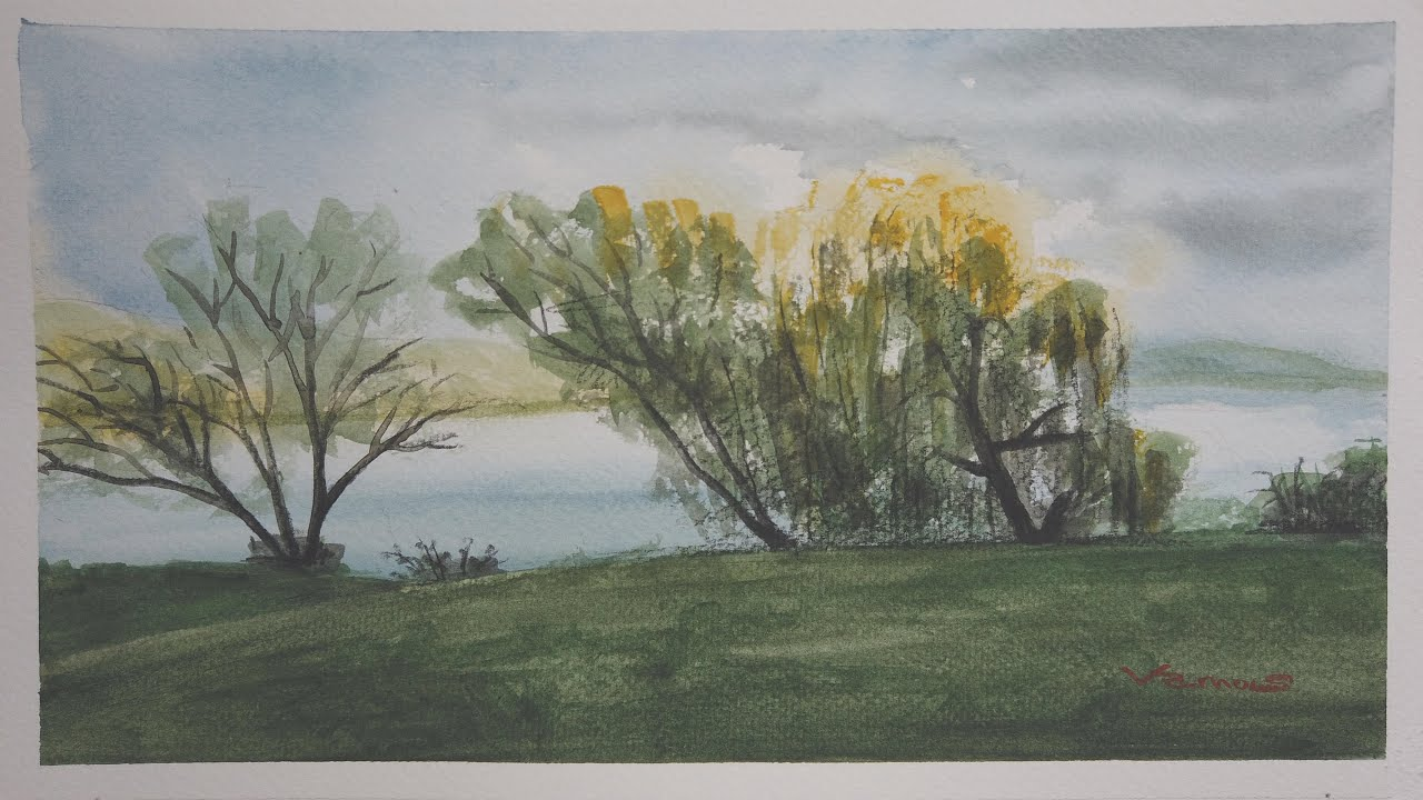 Trees by the Lakeside - Watercolour Art - Slow Life - By Vamos