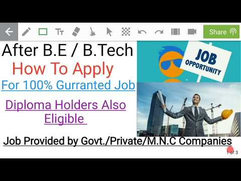 Apply B.E/B.tech and Diploma freshers for 100% Gurranted job with M.N.C companies and Govt.