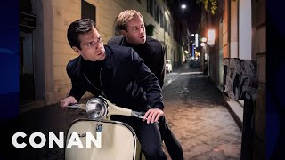 Download Video Armie Hammer's Vespa Bromance With Henry Cavill  - CONAN on TBS MP3 3GP MP4