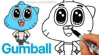 How to Draw Gumball Watterson step by step Easy -The Amazing World of Gumball