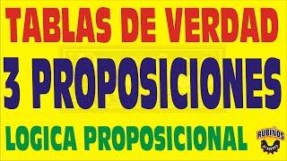 TABLAS DE VERDAD PARA 3 PROPOSICIONES - LOGICA PROPOSICIONAL